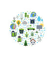 ecology flat icons gathered in circle vector image