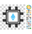 ethereum crystal mining pool icon with bonus vector image vector image