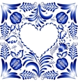Flower frame in the form of heart Styling Gzhel vector image vector image