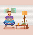 freelancer happy young men working on the arm chai vector image