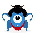 Funny cartoon sumo wrestler cyclops vector image
