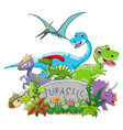 funny jurassic animal vector image vector image