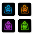 glowing neon weight pounds icon isolated on white vector image vector image