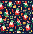 gnomes pattern christmas holiday cute xmas elf vector image vector image
