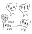 hand drawn funny teeth icons set vector image vector image