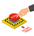 hand pressing red emergency button isometric