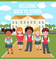 happy kids on school building background vector image vector image