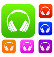 headphone set color collection vector image vector image