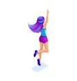 isometric girl jumping having fun happy with vector image