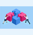 isometric people connecting puzzle elements vector image vector image