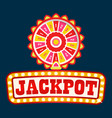 jackpot neon signboard light bulbs fortune wheel vector image vector image