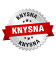 knysna round silver badge with red ribbon vector image vector image