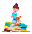 little girl sitting on top of a pile of books vector image