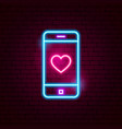 love mobile neon sign vector image vector image
