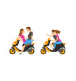 loving couple on scooter sitting and riding vector image