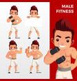 man male fitness mascot character set logo icon vector image