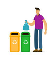 man sorts garbage for recycling vector image