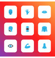 part icons colored set with lips nose eye and vector image