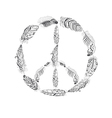 Peace Hippie Symbol with Feather in Boho Style vector image