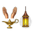 praying hands arabic lamp with chain and aladdin vector image