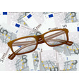reading glasses on five euro background vector image vector image