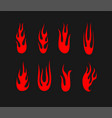 red flames set on black background vector image