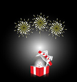 red gift box with white ribbon with firework vector image vector image