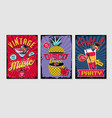 retro party template music poster sets vintage vector image vector image