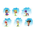 set of chidren weared in different costumes vector image vector image