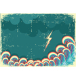 Storm in ocean with waves and lightning vector image vector image