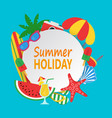 summer time concept with white circle for text and vector image vector image