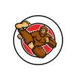 taekwondo bigfoot flying kick circle mascot vector image