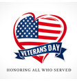 veterans day usa heart emblem colored vector image vector image