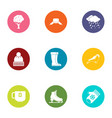 winter merriment icons set flat style vector image vector image
