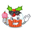 with ice cream cartoon homemade christmas cupcakes vector image