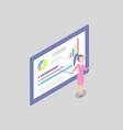 woman at the blackboard shows presentation cartoon vector image vector image