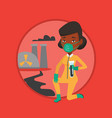 woman in radiation protective suit with test tube vector image