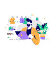 young happy bearded man using laptop for shopping vector image