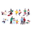 set of winter games different people vector image