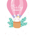 baby shower female bunny in hot air balloon vector image vector image