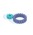 big and small gears spinning thanks to each other vector image