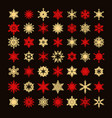 big collection of elegant gold and red snowflakes vector image