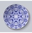Blue floral pattern on a dish Pastiche of Chinese vector image vector image