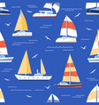 boats seamless pattern summer marine print with vector image vector image
