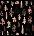 christmas trees copper foil seamless pattern black vector image