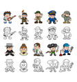 cute cartoon people set vector image vector image