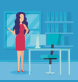 elegant businesswoman in the office vector image