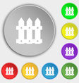 Fence icon sign Symbols on eight flat buttons vector image