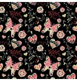 floral seamless pattern with flowers hearts vector image