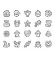 gingerbread charcoal draw line icons set vector image vector image